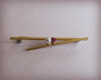Vintage Krementz Cultured Gold Filled Pearl Pin . Pink Stone Modernistic Brooch