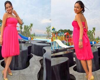 Bridesmaid Pink chiffon Strapless  Beach evening short Sun dress fits S M L XL