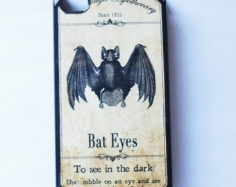 Case iphone 6 Iphone 5 iphone 4/4s5S 5C  Vintage Style Bat  gothic goth Vintage mobile cell phone cover snap case Halloween Black