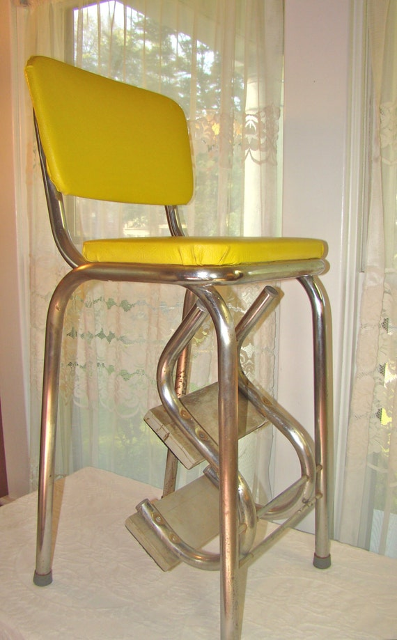 Vintage Mod Kitchen Stool With Fold Out Steps In Sunshine