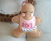 Personalized Baby's First Christmas Ornament, Keepsake, Favor, Ginger Baby Cookie with 2013 Bib and Name