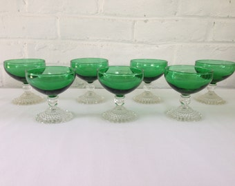 """Anchor Hocking Forest Green """"Bubble""""  Sherbets"""