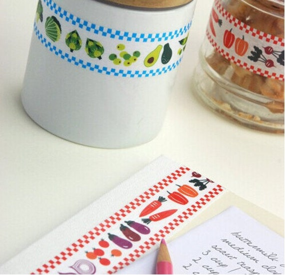 Vegetable Kitchen Theme Pattern Washi Tape 25mm X 15m