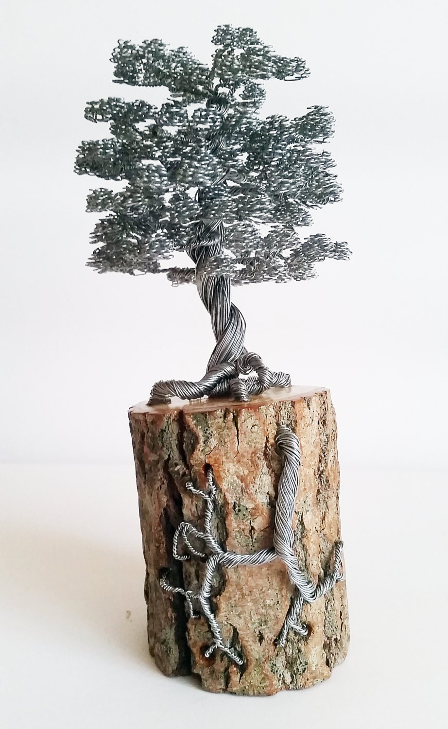Rustic Bonsai Wire Tree Sculpture Decorated On The Pot With