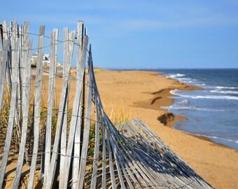 plum island beach photography, beach fence, ocean, waves, sand, ocean photography, beach home decor, wall art, summer