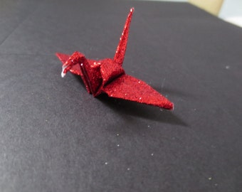 Medium Sparkle Glitter Red Origami Paper Cranes - 100