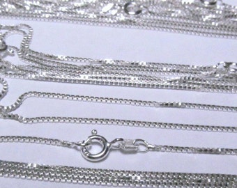 Sterling Silver Box Chain 1 MM Necklace WHOLESALE 5 Pcs Lot 14 - 30 Inch