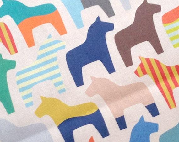 Swedish dala horse fabric fabric by the yard kona cotton for Kids horse fabric