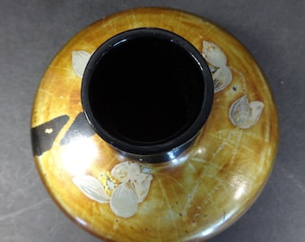 Vintage Asian Lacquered Wood Vase with Flowers