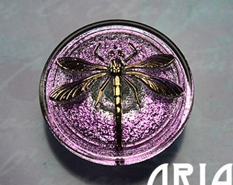 CZECH GLASS BUTTON: 30mm Dragonfly Handpainted Czech Glass Button, Pendant, Cabochon (1)