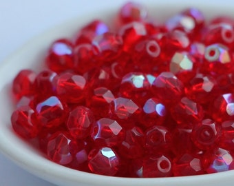 5mm Siam Ruby AB Glass (30) Czech Fire Polished Facet Round Beads