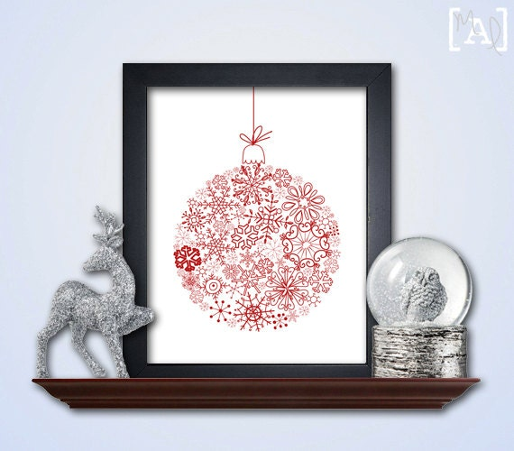 Christmas ornament art holiday wall by myaugustloves