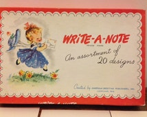 Vintage American Greeting Note Cards with Envelopes and Box