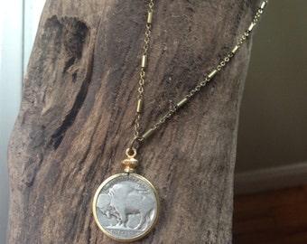 """Buffalo Nickel Necklace """"D"""""""