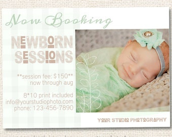Baby Photography Template, Newborn Photo Sessions, Now Booking Template, Baby Announcement, Photographer Marketing, Photoshop Template, m143