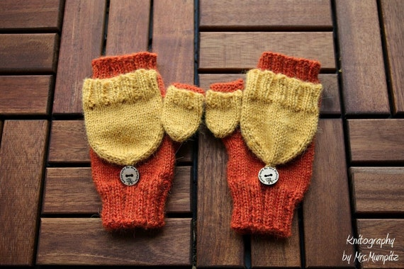 Knitting Pattern For Mittens With Flaps : Convertible Mittens With thumb flap knitting pattern PDF