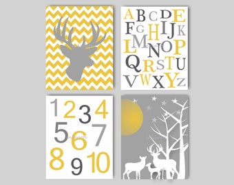 Woodland Nursery Bedding Decor, Deer Nursery Art, Baby Boy Nursery Art, Deer Art, Boys Room Deer Print, ABC Wall Art, Choose Colors WD4409