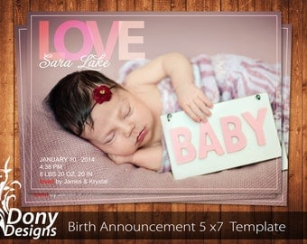 BUY 1 GET 1 FREE Birth Announcement - Neutral Baby Announcement Card - Photoshop Template Instant Download: cardcode-152
