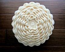 Flower Pillow - Crochet Blooming Flower Pillow - Ivory Cream White - Ready to Ship Home Decor