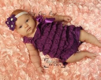 Vintage Fancy Purple Trio Flower Headband-Preemie-Baby-Newborn-Infant-Child-Toddler-Adult-Elastic-Holiday-Pretty-Christmas-Chic-Elegant