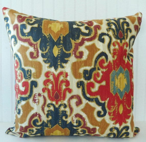 blue red pillow cover throw pillow decorative by pookadellas. Black Bedroom Furniture Sets. Home Design Ideas