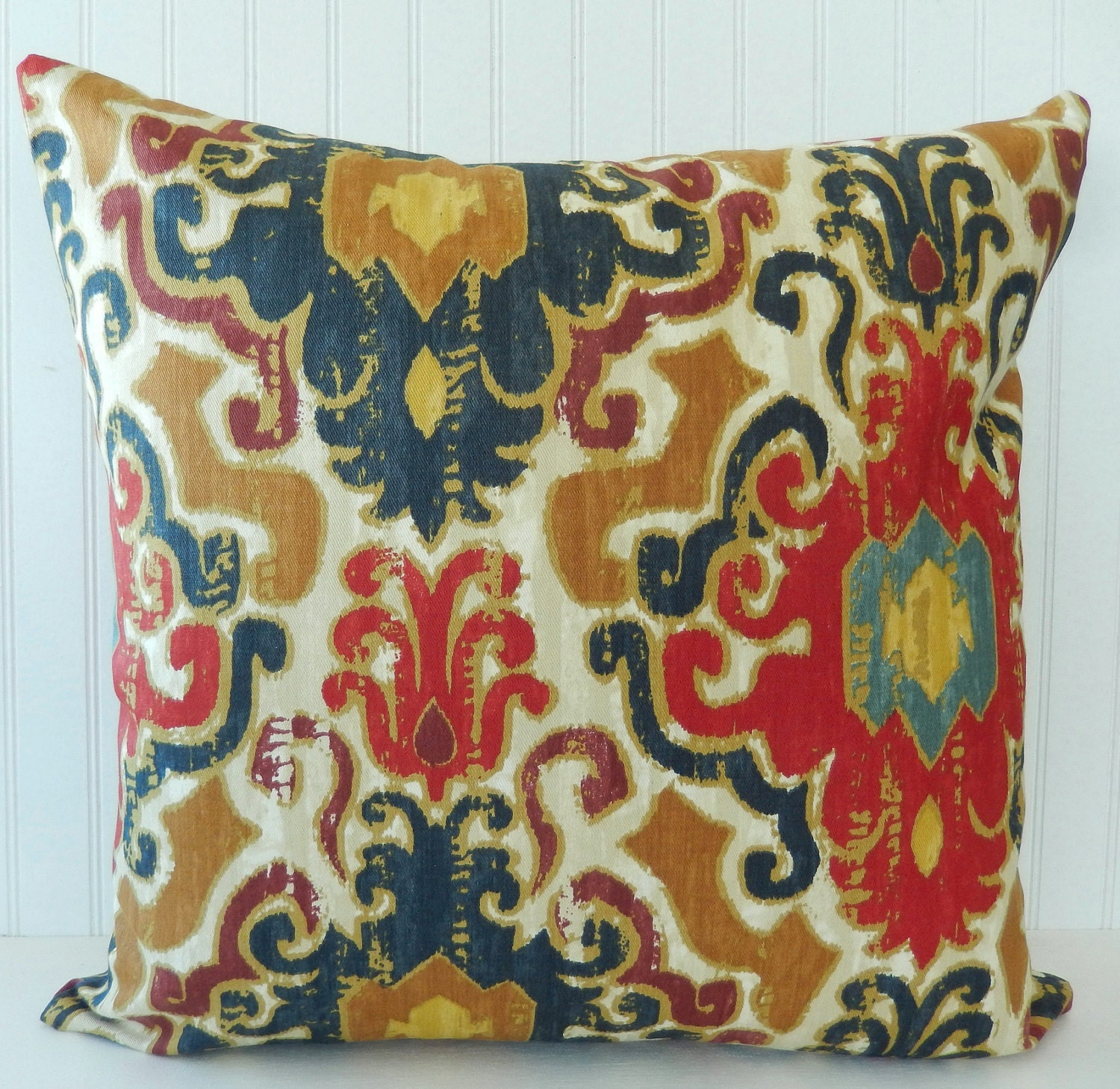 Blue Red Throw Pillow : Blue Red Pillow Cover Throw Pillow Decorative by Pookadellas