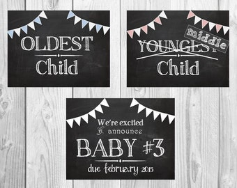 3 We're Expecting Baby #2, 3, 4 + Chalkboard Announcement Pennant Printable files- Announcing baby/ pregnancy announcement 8x10