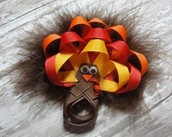 Turkey Hair Bow, - Thanksgiving Hair Bow, - Hair Clip Accessory