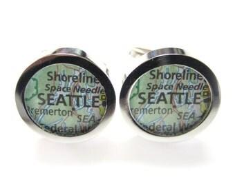 Seattle Washington Map Cufflinks