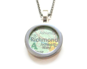 Richmond Virginia Map Pendant Necklace