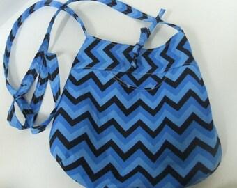 Cross body purse bag - blue chevron - medium - crossover purse- chevron purse