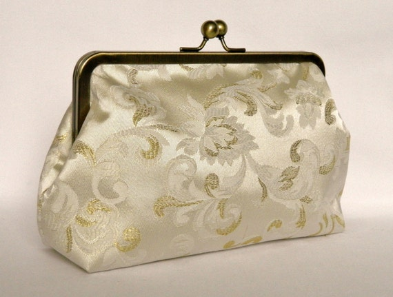 Ivory Bridal Clutch Ivory And Gold Clutch Wedding Clutch