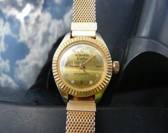 Vintage Kronatron Electra Antimagnetic Hong Kong Gold Tone Watch
