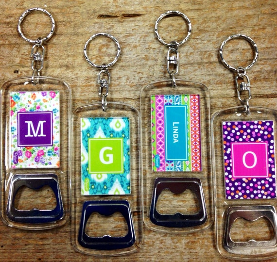 items similar to personalized bottle opener keychain textile monogram on etsy. Black Bedroom Furniture Sets. Home Design Ideas
