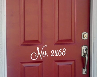 Personalized Front Door vinyl number decal
