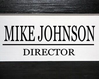 Personalized wooden block desk nameplate - Teacher, business, employee gift