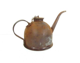 Antique oil can,large oil can,metal container,farmhouse decor,industrial decor,rust,rustic,farm tool