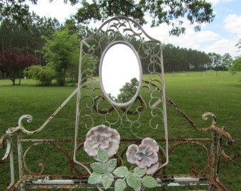 Shabby chic decor,shabby chic mirror, whimsical mirror, scroll mirror,white mirror, wall mirror, ornate metal mirror, vintage mirror,