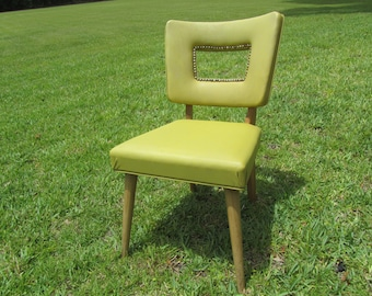 Mid Century Danish Modern Chair, side chair, yellow, kitchen chair, moder chair, vintage chair,