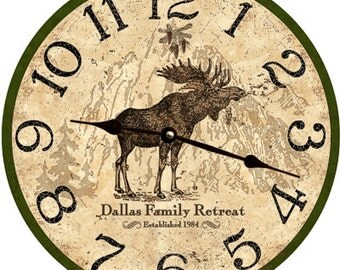 Moose Clock-Personalized Rustic Moose Wall Clock