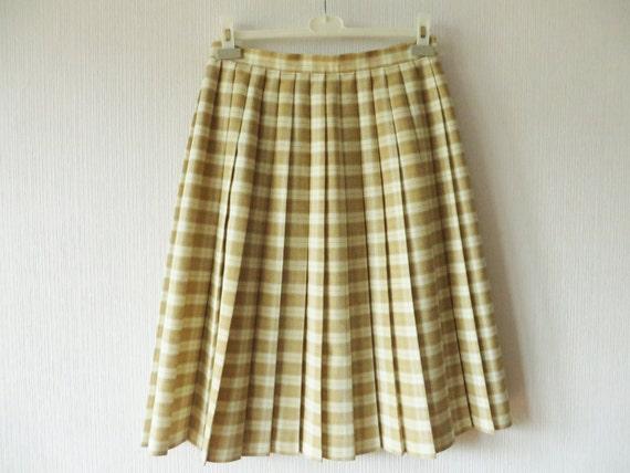 beige plaid accordion pleated skirt white knee length