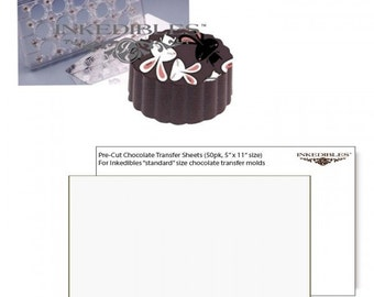 Inkedibles Standard Size (11 inch x 5 inch) Magnetic Chocolate Mold (design 530-002, plus 50 precut chocolate transfer sheets to size)