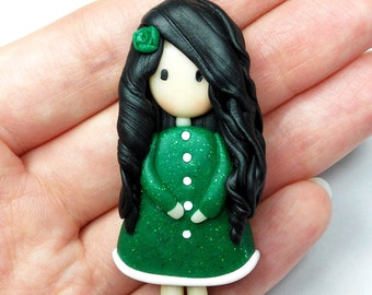 Green Doll Necklace (Gorgeous) - Handmade in Polymer Clay