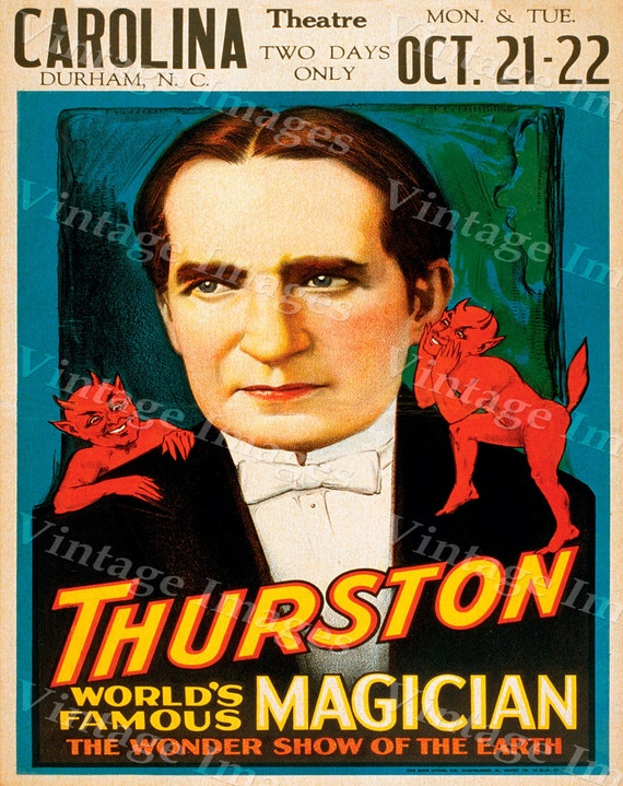 Thurston Magic Theatre Show Poster Vaudeville Act Durham Nc  Master Mystic Magic Magician Poster Game Room  Fine Art Print Giclee