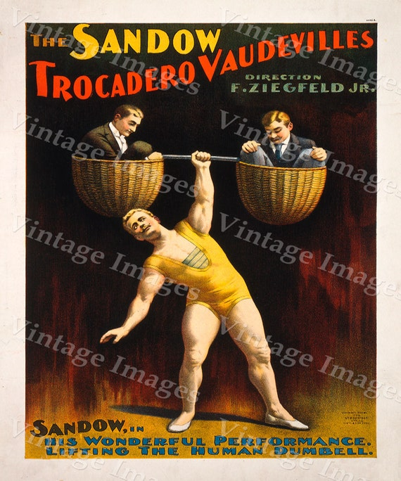 Vintage Strong Man Poster 1894 Sandow Theater Act Poster Workout room art  30 X 42 Fine Art Print Giclee Home Wall Decor Exercise room