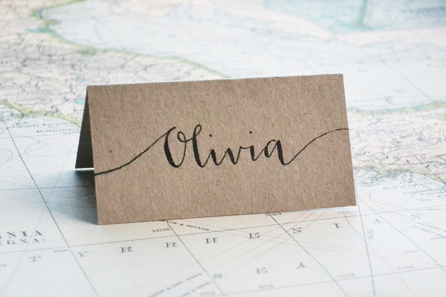 Wedding place card seating name hand lettered