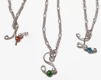 Wire Initial Necklace with Optional Pearl, Bead, or Swarovski Crystal, Available in Sterling Silver