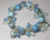 Crystal Agate Bracelet, Blue Agate Gemstones, Heart Charms, Cluster Bracelet, Wire Wrapped Agate Bracelet