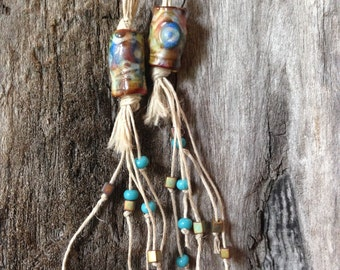 Faux Ceramic Polymer ClayTube Bead Earrings with knotted hemp tassels