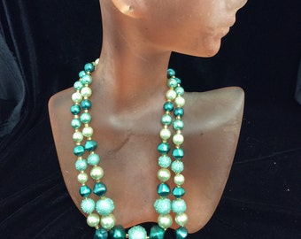 Vintage Shades Of Turquoise Plastic Beaded Necklace